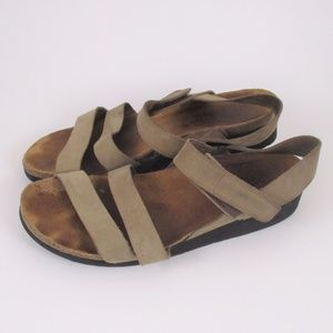 Naot 39 Krista Tan Leather Sandals Open Toe EUC